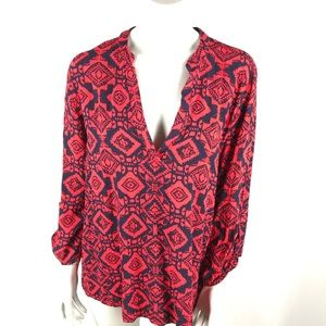 Charlotte Russe Blue and Red Long Sleeve Blouse